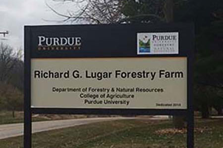 Richard G. Lugar Forestry Farm Sign