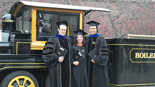 Image of graduate students near the Boilermaker Special