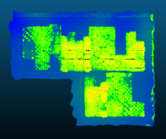 Figure 3 Top down view of a UAV lidar point cloud